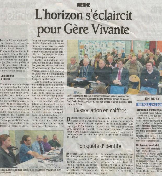 Article du Dauphiné Libéré du 31 mars 2013