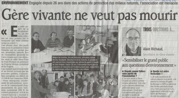 Article du Dauphiné Libéré du 10 mars 2010
