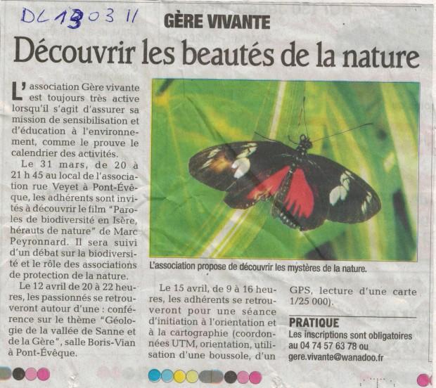 Article du Dauphiné Libéré du 13 mars 2011