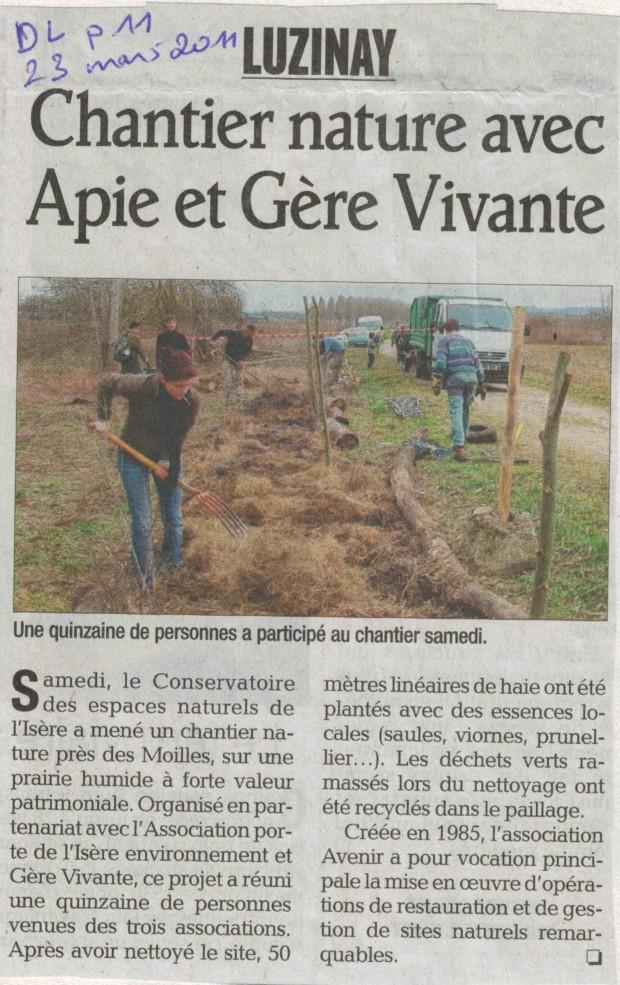 Article du Dauphiné Libéré du 23 mars 2011