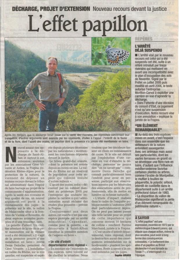 Article du Dauphiné Libéré du 17 avril 2007