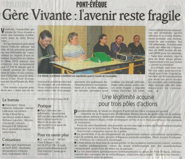 Article du Dauphiné Libéré du 27 mars 2011