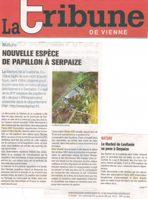 Article de la Tribune de Vienne du 30 mai 2013